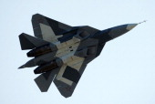 A Russian first stealth fighter T50 performs during MAKS2011 the International Aviation and Space Show in Zhukovsky outside Moscow on August 17 2011...