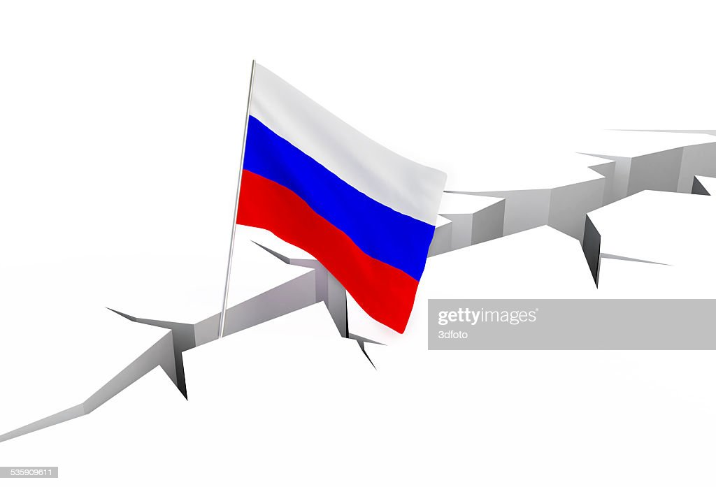 russian flag falls into a crevasse : Stock Photo