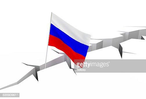 Bandeira da Rússia em função uma fenda : Foto de stock