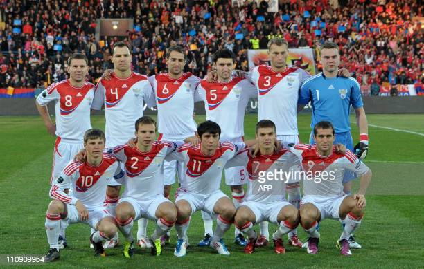Russian football team pose before Russia vs Armenia 2012 UEFA European Championship qualifying match group B in Yerevan on March 26 2011 EURO 2012...