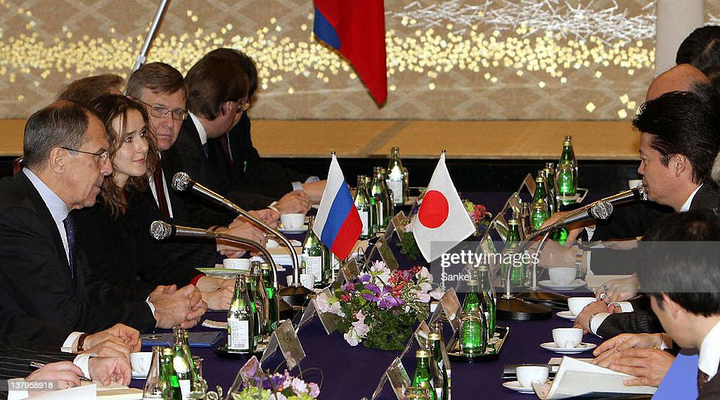 Russian Foregin Minister Sergey Lavrov (1L) and Japanese Foregin Minister <a gi-track='captionPersonalityLinkClicked' href=/galleries/search?phrase=Koichiro+Gemba&family=editorial&specificpeople=7046304 ng-click='$event.stopPropagation()'>Koichiro Gemba</a> (1R) talk during their meeting at Iikura Guest House on January 28, 2012 in Tokyo, Japan.