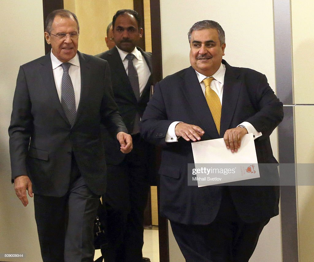 Russian Foreign Minister <a gi-track='captionPersonalityLinkClicked' href=/galleries/search?phrase=Sergei+Lavrov&family=editorial&specificpeople=542406 ng-click='$event.stopPropagation()'>Sergei Lavrov</a> (L) and Bahrain's Foreign Minister Khalid bin Ahmed Al Khalifa (R) arrive to their joint press conference after Russian-Bahrain talks in Bicharov Ruchey State Residence in Sochi, Russia, on February, 8, 2016.Bahrain's King is having a one-day visit to Black Sea resort of Sochi.