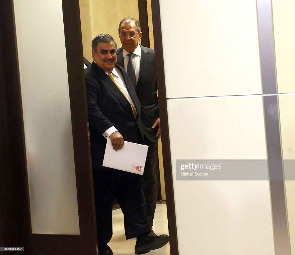 Russian Foreign Minister <a gi-track='captionPersonalityLinkClicked' href=/galleries/search?phrase=Sergei+Lavrov&family=editorial&specificpeople=542406 ng-click='$event.stopPropagation()'>Sergei Lavrov</a> (R) and Bahrain's Foreign Minister Khalid bin Ahmed Al Khalifa (L) attend a jount press conference after Russian-Bahrain talks in Bicharov Ruchey State Residence in Sochi, Russia, on February, 8, 2016.Bahrain's King is having a one-day visit to Black Sea resort of Sochi.