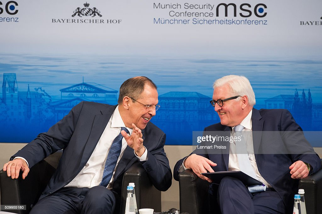 Russian Foreign Minister Sergei Lavrov (L) and german Minister of Foreign Affairs Frank-Walter Steinmeier attend the 2016 Munich Security Conference at the Bayerischer Hof hotel on February 13, 2016 in Munich, Germany. The annual event brings together government representatives and security experts from across the globe and this year the conflict in Syria will be the main issue under discussion.