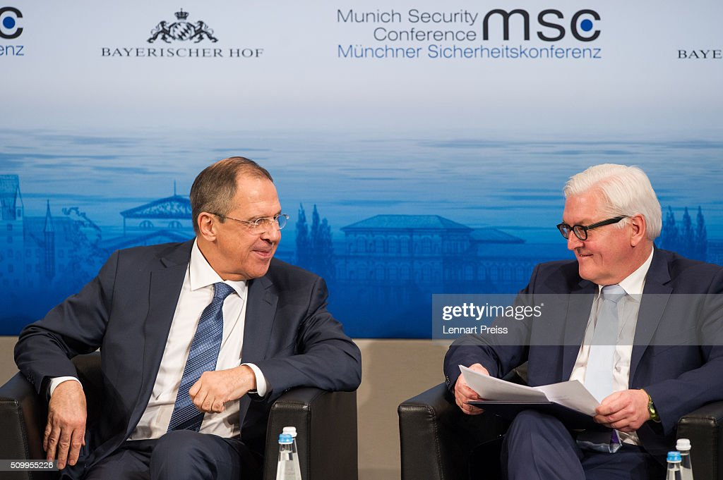 Russian Foreign Minister <a gi-track='captionPersonalityLinkClicked' href=/galleries/search?phrase=Sergei+Lavrov&family=editorial&specificpeople=542406 ng-click='$event.stopPropagation()'>Sergei Lavrov</a> (L) and german Minister of Foreign Affairs <a gi-track='captionPersonalityLinkClicked' href=/galleries/search?phrase=Frank-Walter+Steinmeier&family=editorial&specificpeople=603500 ng-click='$event.stopPropagation()'>Frank-Walter Steinmeier</a> attend the 2016 Munich Security Conference at the Bayerischer Hof hotel on February 13, 2016 in Munich, Germany. The annual event brings together government representatives and security experts from across the globe and this year the conflict in Syria will be the main issue under discussion.