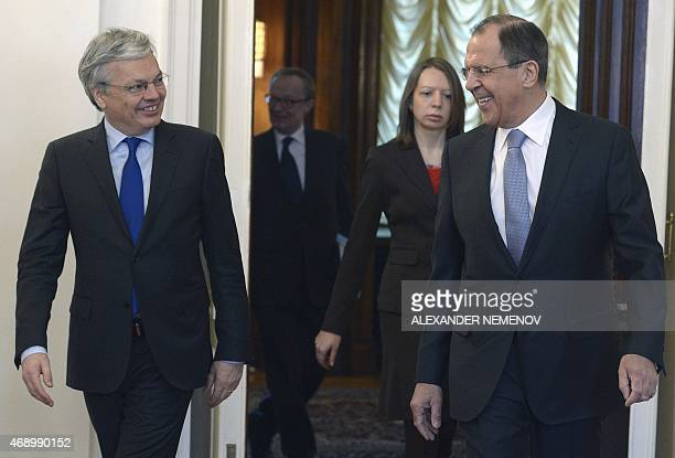 Russian Foreign Minister Sergei Lavrov and his Belgian counterpart Didier Reynders enter a hall before their meeting in Moscow on April 9 2015 AFP...
