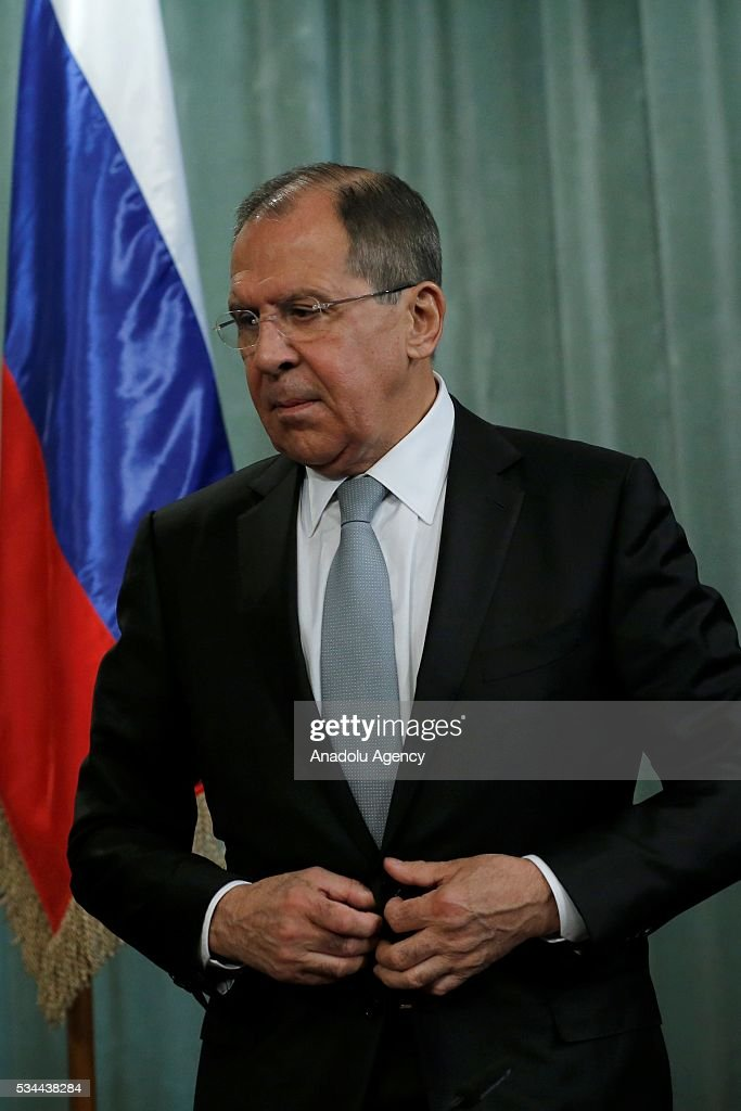 Russian Foreign Minister Sergei Lavrov and Saudi Arabian Foreign Minister Adel al-Jubeir (not seen) attend a press conference following the Russia-Gulf Cooperation Council Strategic Dialogue Ministerial Meeting at the Russian Foreign Ministry's guest house in Moscow, Russia on May 26, 2016.