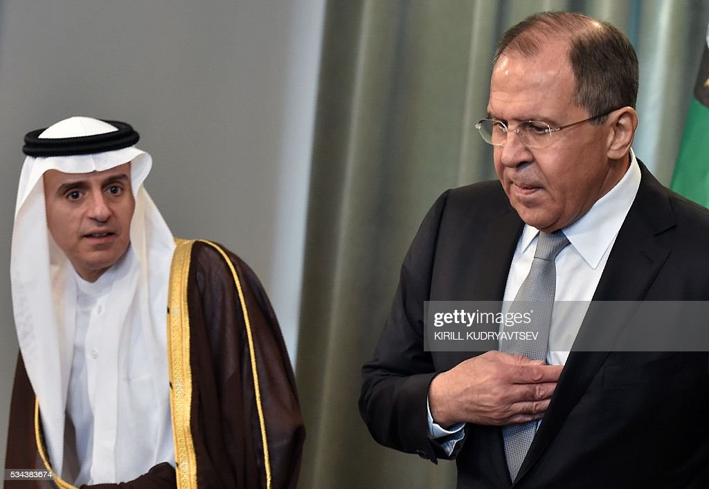 Russian Foreign Minister Sergei Lavrov and Saudi Arabia's Foreign Minister Adel al-Jubeir arrive to attend a joint press conference following Sergei Lavrov's meeting with foreign ministers of the Gulf Cooperation Council (GCC) in Moscow on May 26, 2016. / AFP / KIRILL