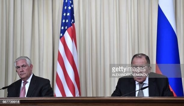 Russian Foreign Minister Sergei Lavrov and US Secretary of State Rex Tillerson attend a press conferece after their talks in Moscow on April 12 2017...