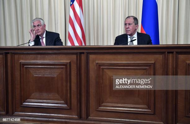 Russian Foreign Minister Sergei Lavrov and US Secretary of State Rex Tillerson take part in a press conference after a meeting in Moscow on April 12...