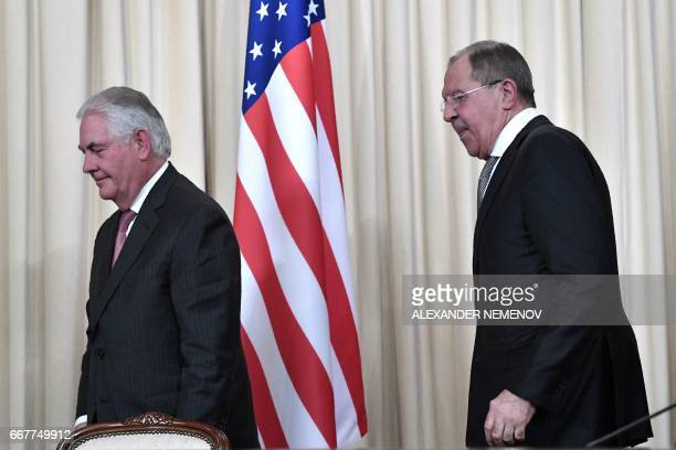 Russian Foreign Minister Sergei Lavrov and US Secretary of State Rex Tillerson leave after a press conference in Moscow on April 12 2017 Russian...
