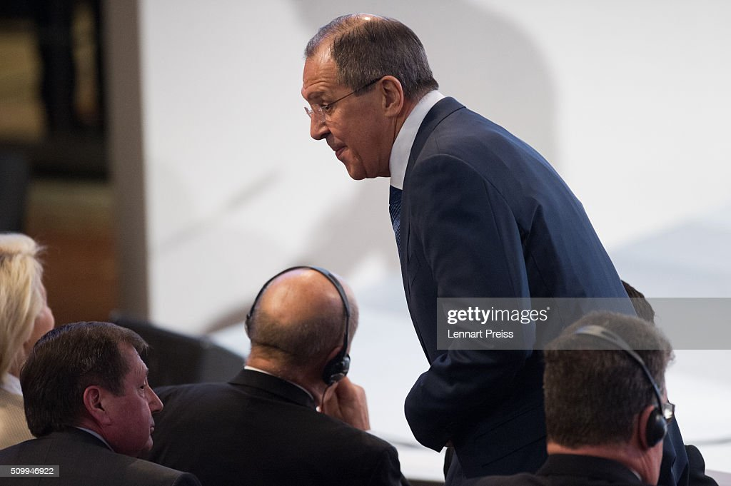Russian Foreign Minister <a gi-track='captionPersonalityLinkClicked' href=/galleries/search?phrase=Sergei+Lavrov&family=editorial&specificpeople=542406 ng-click='$event.stopPropagation()'>Sergei Lavrov</a> arrives at the 2016 Munich Security Conference at the Bayerischer Hof hotel on February 13, 2016 in Munich, Germany. The annual event brings together government representatives and security experts from across the globe and this year the conflict in Syria will be the main issue under discussion.