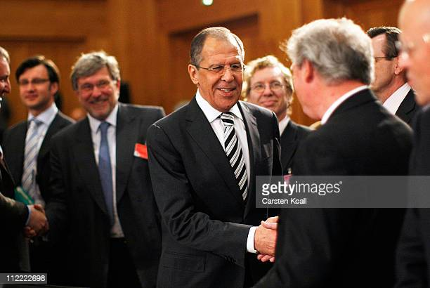 Russian Foreign Minister Sergei Lavrov attends an informal meeting of NATO member foreign ministers on April 15 2011 in Berlin Germany The principal...