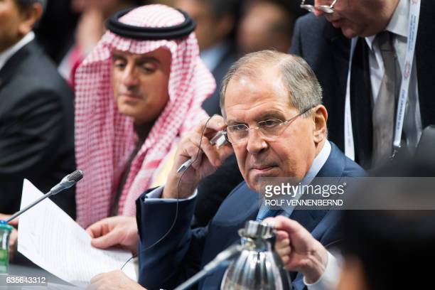 Russian Foreign Minister Sergei Lavrov attends the G20 Foreign Ministers Meeting at the World Conference Center February 16 2017 in Bonn Germany US...