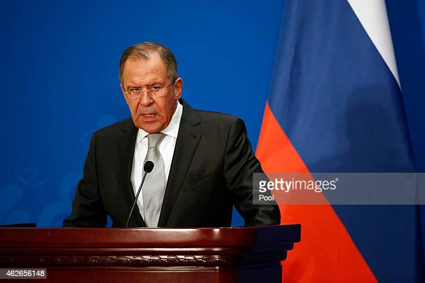 Russian Foreign Minister Sergei Lavrov attends the press conference after the 13th trilateral meeting of Foreign Ministers from Russia India and...