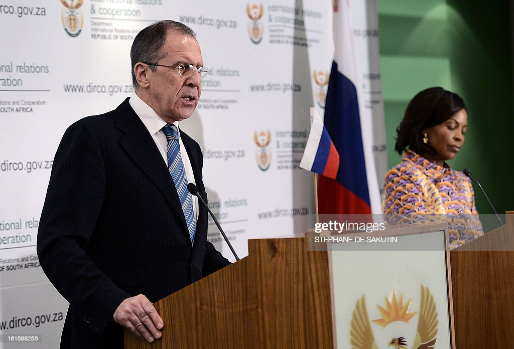 Russian Foreign Minister Sergei Lavrov (L) flanked by South African Minister of International Relations and Cooperation Maite Nkoana-Mashabane gives a joint press conference on February 12, 2013 in Pretoria. Lavrov said he expected the UN Security Council to agree on 'an adequate response' to North Korea's controversial nuclear test. World powers have voiced a chorus of condemnation after the reclusive communist state carried out a third nuclear test in defiance of stark international warnings.