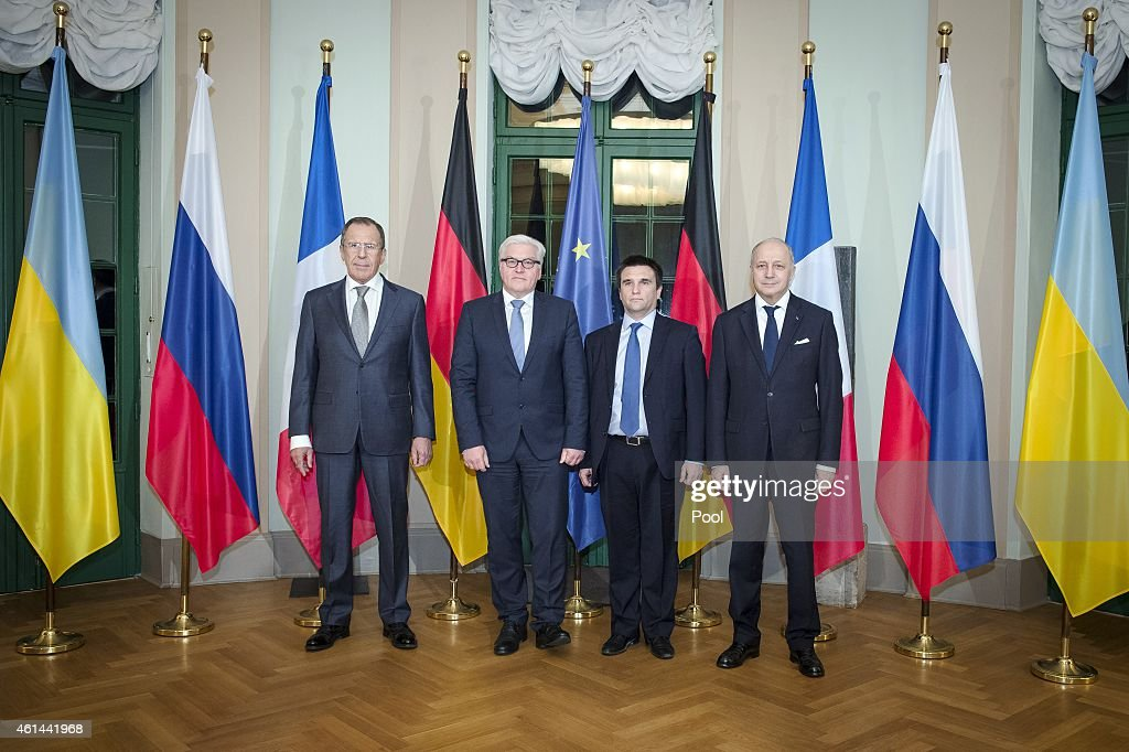 Russian Foreign Minister Sergei Lavrov, German Foreign Minister <a gi-track='captionPersonalityLinkClicked' href=/galleries/search?phrase=Frank-Walter+Steinmeier&family=editorial&specificpeople=603500 ng-click='$event.stopPropagation()'>Frank-Walter Steinmeier</a>, Ukrainian Foreign Minister <a gi-track='captionPersonalityLinkClicked' href=/galleries/search?phrase=Pavlo+Klimkin&family=editorial&specificpeople=12902005 ng-click='$event.stopPropagation()'>Pavlo Klimkin</a> and French Foreign Minister <a gi-track='captionPersonalityLinkClicked' href=/galleries/search?phrase=Laurent+Fabius&family=editorial&specificpeople=540660 ng-click='$event.stopPropagation()'>Laurent Fabius</a> pose at Villa Borsig, the Federal Foreign Office Guest House on Lake Tegel, as they attend talks on diffusing the current military conflict in eastern Ukraine on January 12, 2015 in Berlin, Germany. Skirmishes are continuing between the Ukrainian army and pro-Russian separatists in the Donbas region, despite previous announcements of ceasefires and negotiations.