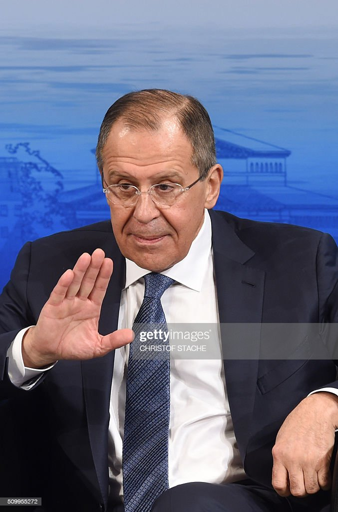 Russian Foreign Minister Sergei Lavrov gestures during a panel discussion of the 52nd Munich Security Conference (MSC) in Munich, southern Germany, on February 13, 2016. / AFP / Christof STACHE