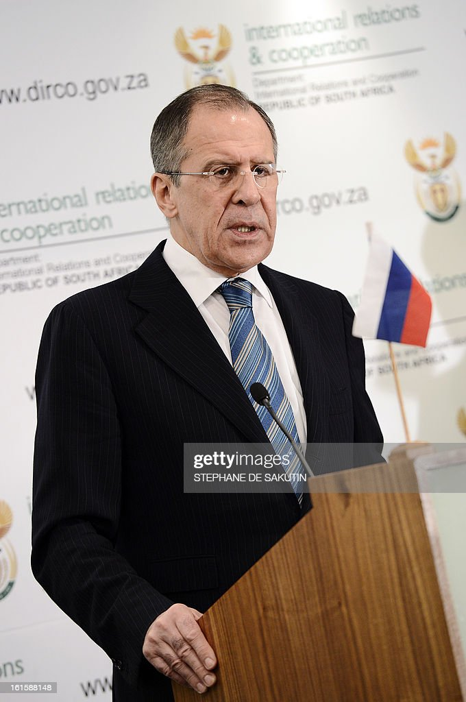 Russian Foreign Minister Sergei Lavrov gives a press conference on February 12, 2013 in Pretoria. Lavrov said he expected the UN Security Council to agree on 'an adequate response' to North Korea's controversial nuclear test. World powers have voiced a chorus of condemnation after the reclusive communist state carried out a third nuclear test in defiance of stark international warnings.