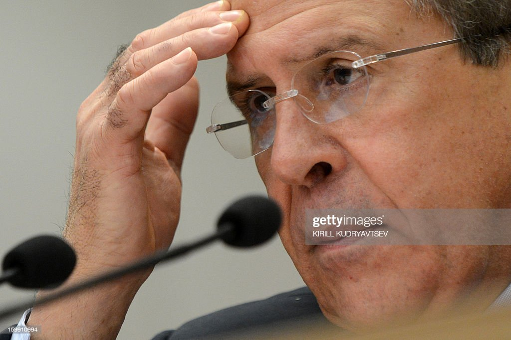 Russian Foreign Minister Sergei Lavrov holds his traditional start-of-year press conference in Moscow, on January 23, 2013, with attention focused on Russia's position on the raging conflict in Syria.