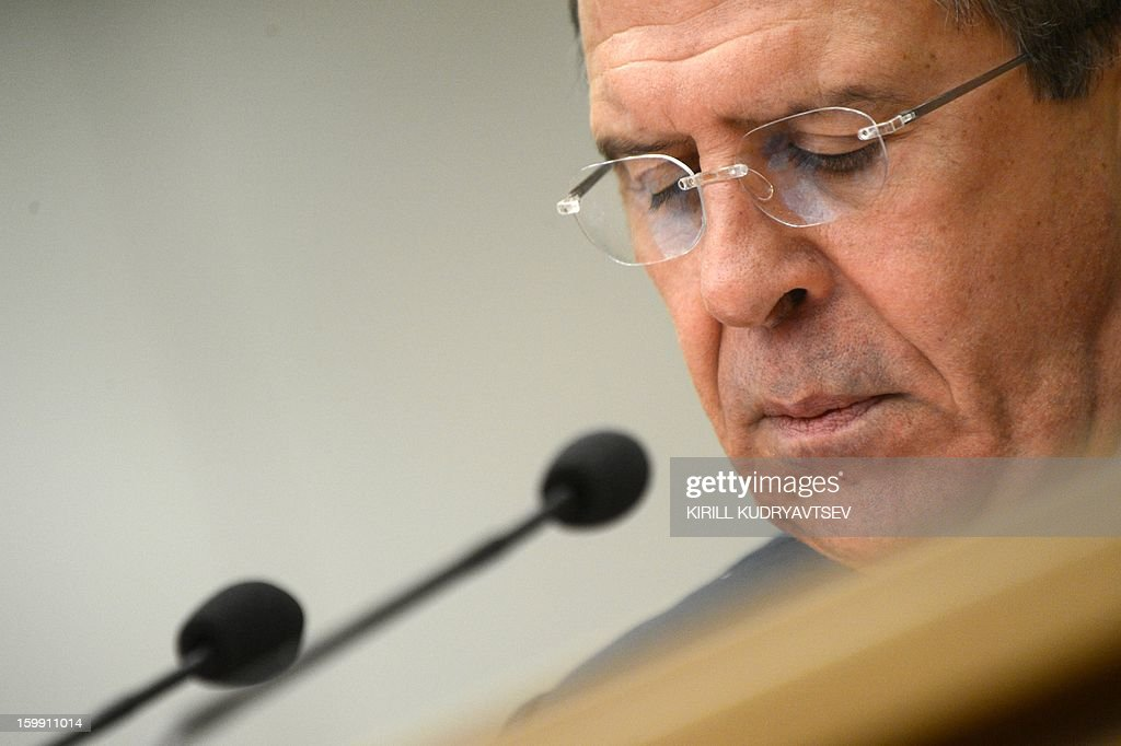Russian Foreign Minister Sergei Lavrov holds his traditional start-of-year press conference in Moscow, on January 23, 2013, with attention focused on Russia's position on the raging conflict in Syria. AFP PHOTO/ KIRILL KUDRYAVTSEV