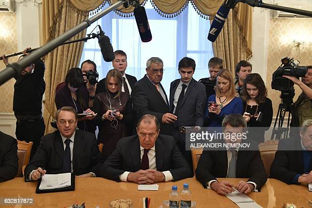 TOPSHOT Russian Foreign Minister Sergei Lavrov meets with representatives of Syria's political opposition in Moscow on January 27 2017 UNhosted...