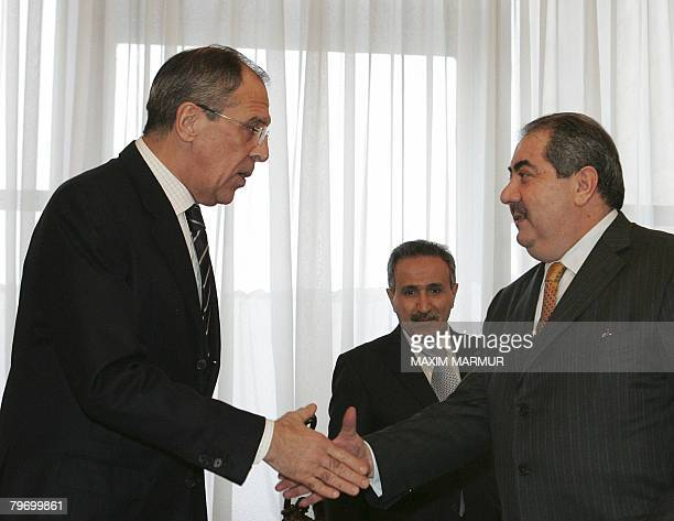 Russian Foreign Minister Sergei Lavrov shakes hands with Iraqi Foreign Minister Hoshyar Zebari in Moscow on February 11 2008 Zebari arrived in Moscow...