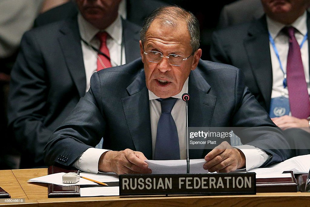 Russian Foreign Minister Sergei Lavrov speaks at a Security Council meeting on global terrorism during the United Nations General Assembly on September 24, 2014 in New York City. World leaders, activists and protesters have converged on New York City for the annual UN event that brings together the global leaders for a week of meetings and conferences.