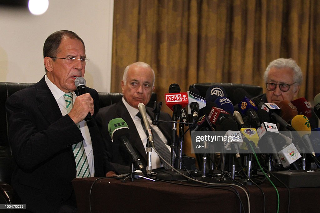 Russian Foreign Minister Sergei Lavrov (L) speaks during a joint press conference with Secretary General of the Arab League Nabil al-Arabi (C) and UN-Arab League peace envoy Lakhdar Brahimi (R) in Cairo on November 4, 2012. Lavrov will hold talk on Syria in Cairo before heading to Amman for discussions with King Abdullah II of Jordan and his counterpart Nasser Judeh.