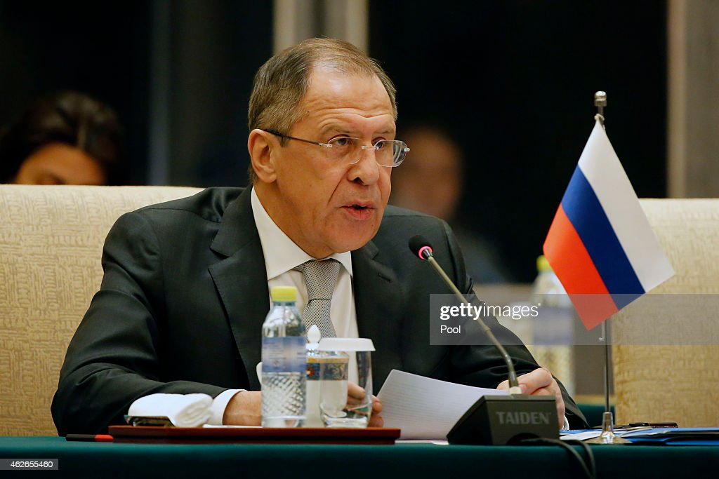 Russian Foreign Minister Sergei Lavrov speaks during the 13th trilateral meeting of Foreign Ministers from Russia, India and China (RIC) at Diaoyutai State guesthouse on February 2, 2015 in Beijing, China.