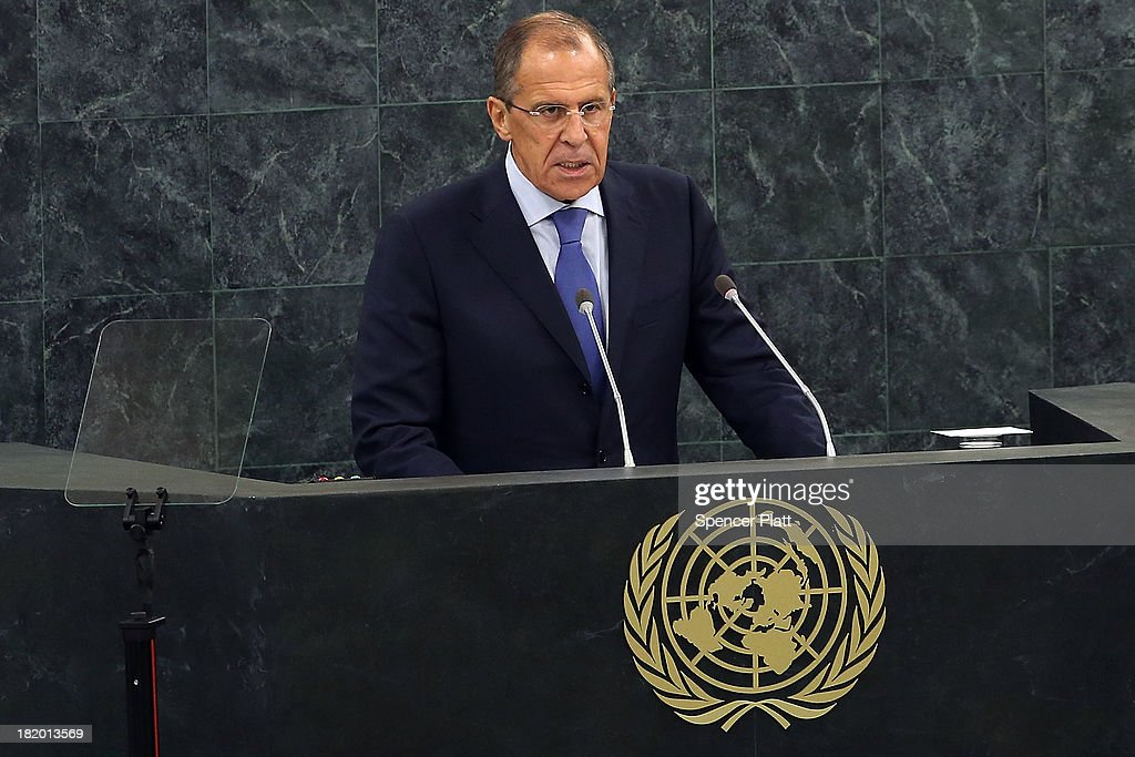 Russian Foreign Minister Sergei Lavrov speaks during the 68th United Nations General Assembly at U.N. headquarters on September 27, 2013 in New York City. Over 120 prime ministers, presidents and monarchs are gathering this week for the annual meeting at the temporary General Assembly Hall at the U.N. headquarters while the General Assembly Building is closed for renovations.