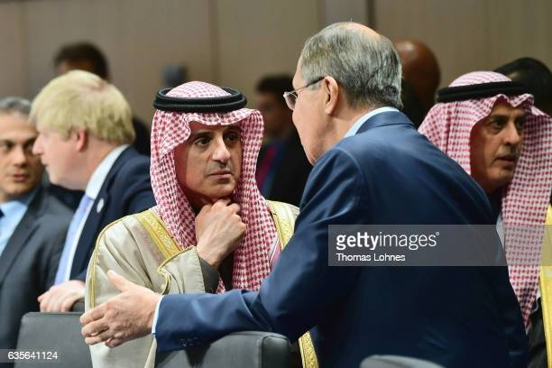 S Russian Foreign Minister Sergei Lavrov speaks with the Saudi Arabia Minister of Foreign Affairs Adel bin Ahmed AlJubeir at the G20 foreign...