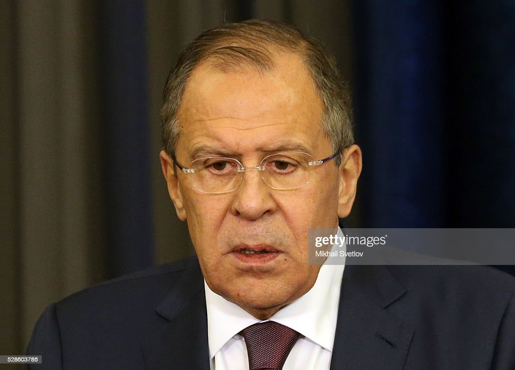 Russian Foreign Minister Sergei Lavrov speeches to journalists after the meeting of Russian President Vladimir Putin and Japanese Prime Minister Shinzo Abe (not pictired) at Black Sea resort of Sochi, Russia, May,6,2016.