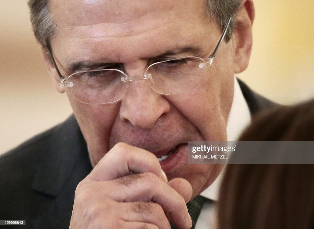Russian Foreign Minister Sergei Lavrov takes part a ceremony of receiving ambassadors' credentials in the Grand Kremlin palace in Moscow, on January 24, 2013.