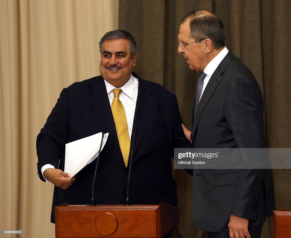 Russian Foreign Minister <a gi-track='captionPersonalityLinkClicked' href=/galleries/search?phrase=Sergei+Lavrov&family=editorial&specificpeople=542406 ng-click='$event.stopPropagation()'>Sergei Lavrov</a> (R) talks to Bahrain's Foreign Minister Khalid bin Ahmed Al Khalifa (L) after Russian-Bahrain talks in Bicharov Ruchey State Residence in Sochi, Russia, on February, 8, 2016.Bahrain's King is having a one-day visit to Black Sea resort of Sochi.