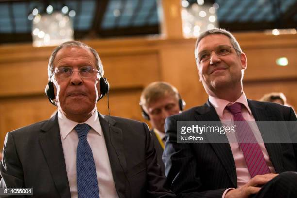 Russian Foreign Minister Sergey Lavrov and State Secretary Markus Ederer attend an event for the end of the 'GermanRussian Youth Exchange Year...