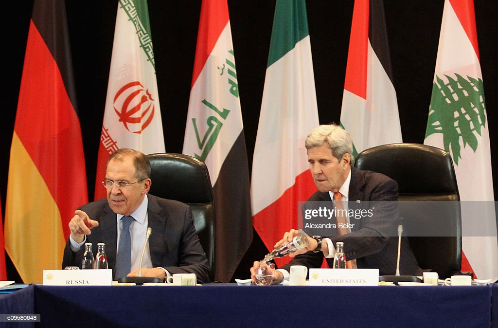 Russian foreign minister Sergey Lavrov and US foreign secretary <a gi-track='captionPersonalityLinkClicked' href=/galleries/search?phrase=John+Kerry&family=editorial&specificpeople=154885 ng-click='$event.stopPropagation()'>John Kerry</a> are pictured during a meeting of the International Syrian Support Group (ISSG) ahead of the International Munich Security Conference on February 11, 2016 in Munich, Germany. ISSG met in Munich to further discuss a peaceful solution in the Syria war.