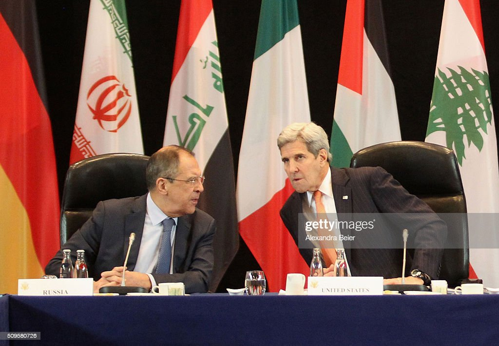 Russian foreign minister Sergey Lavrov and US foreign secretary <a gi-track='captionPersonalityLinkClicked' href=/galleries/search?phrase=John+Kerry&family=editorial&specificpeople=154885 ng-click='$event.stopPropagation()'>John Kerry</a> chat during a meeting of the International Syrian Support Group (ISSG) ahead of the International Munich Security Conference on February 11, 2016 in Munich, Germany. ISSG met in Munich to further discuss a peaceful solution in the Syria war.
