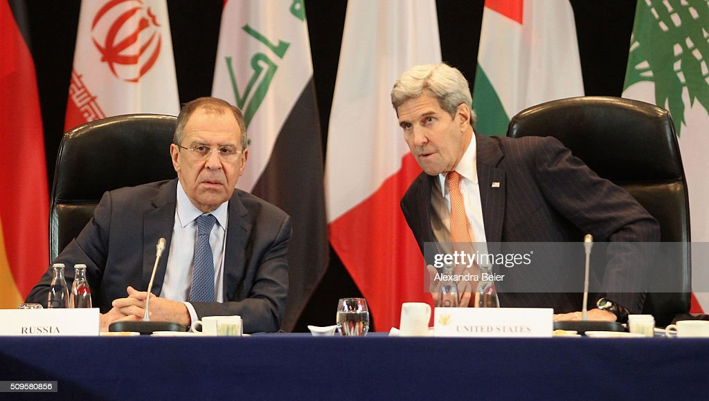 Russian foreign minister Sergey Lavrov and US foreign secretary <a gi-track='captionPersonalityLinkClicked' href=/galleries/search?phrase=John+Kerry&family=editorial&specificpeople=154885 ng-click='$event.stopPropagation()'>John Kerry</a> during a meeting of the International Syrian Support Group (ISSG) ahead of the International Munich Security Conference on February 11, 2016 in Munich, Germany. ISSG met in Munich to further discuss a peaceful solution in the Syria war.
