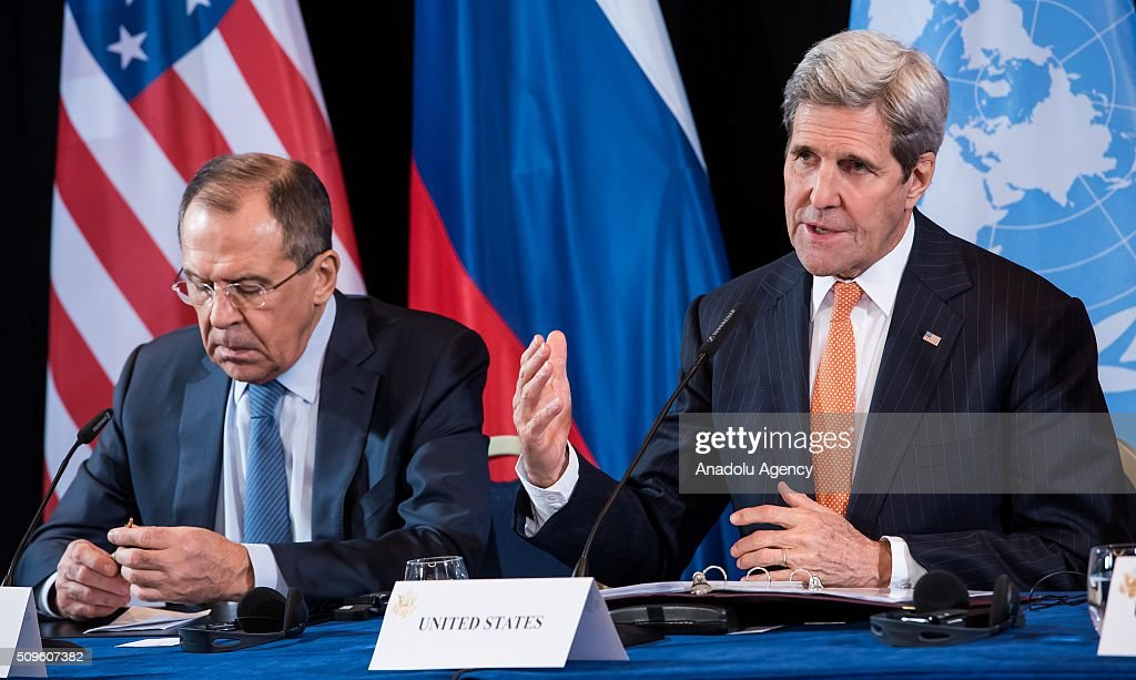 Russian Foreign Minister Sergey Lavrov (L), and U.S. Secretary of State John Kerry (R), attend a news conference after the International Syria Support Group (ISSG) meeting in Munich, Germany, on February 12, 2016.