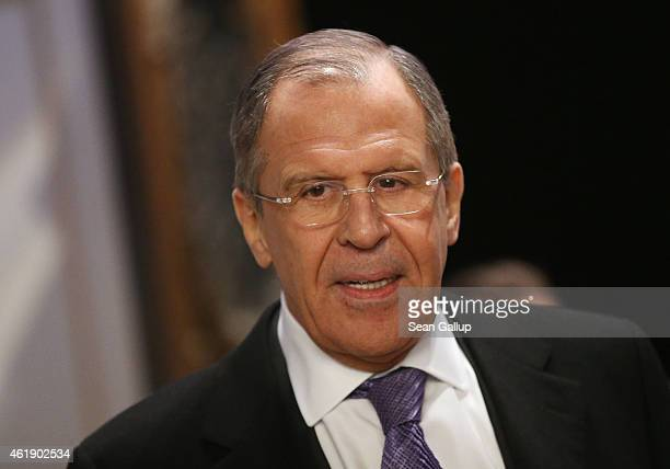 Russian Foreign Minister Sergey Lavrov arrives to meet with German Foreign Minister FrankWalter Steinmeier Ukrainian Foreign Minister Pavlo Klimkin...