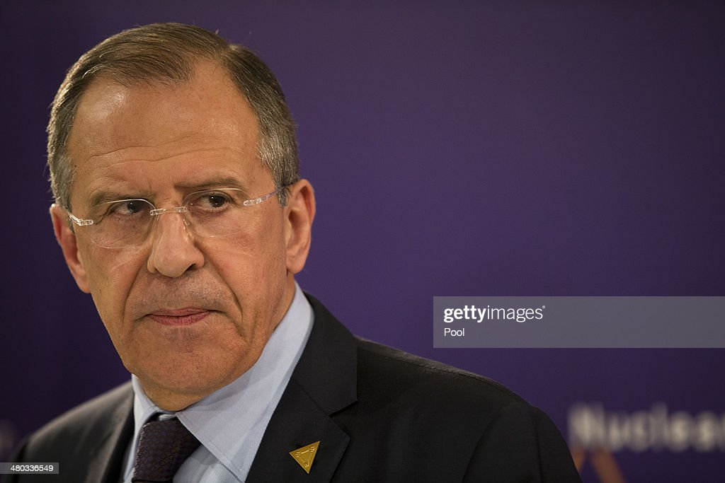 Russian Foreign Minister Sergey Lavrov attends a press conference at the 2014 Nuclear Security Summit on March 24, 2014 in The Hague, Netherlands. The Nuclear Security Summit, held March 24-25, will be attended by world leaders and is aimed at preventing nuclear terrorism.