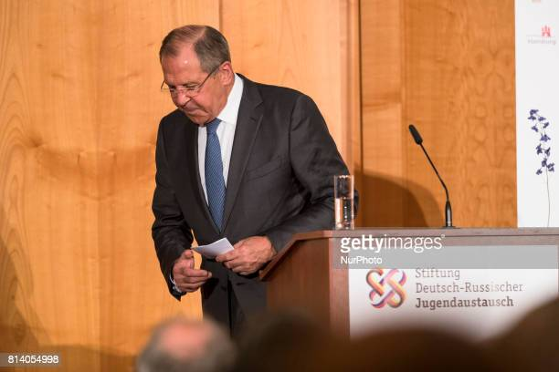 Russian Foreign Minister Sergey Lavrov attends an event for the end of the 'GermanRussian Youth Exchange Year 2016/17' at the Foreign Ministry in...
