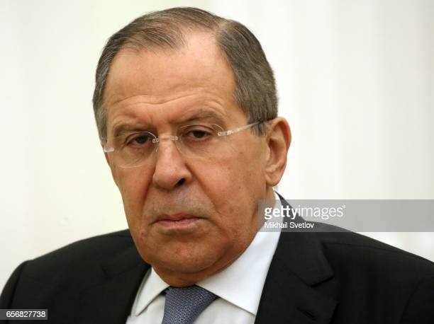 Russian Foreign Minister Sergey Lavrov attends the meeting with President of Sri Lanka Maithripala Sirisena at the Kremlin in Moscow Russia March2017...