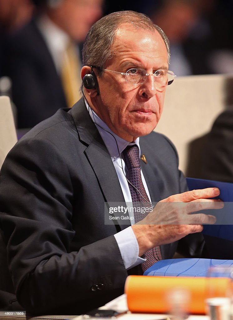 Russian Foreign Minister Sergey Lavrov (L) attends the opening plenary session of the 2014 Nuclear Security Summit on March 24, 2014 in The Hague, Netherlands. Leaders from around the world have come to discuss matters related to international nuclear security, though the summit is overshadowed by recent events in Ukraine. The leaders of the G7 nations will hold a short G7 summit tonight.