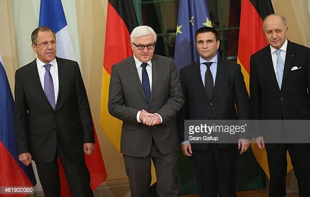 Russian Foreign Minister Sergey Lavrov German Foreign Minister FrankWalter Steinmeier Ukrainian Foreign Minister Pavlo Klimkin and French Foreign...