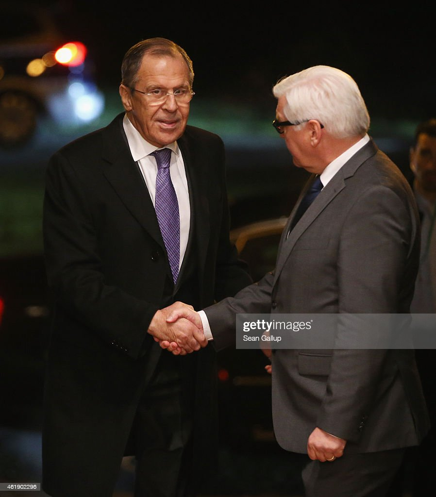 Russian Foreign Minister Sergey Lavrov (L) greets German Foreign Minister Frank-Walter Steinmeier upon Lavrov's arrival to meet also with Ukrainian Foreign Minister Pavlo Klimkin and French Foreign Minister Laurent Fabius to discuss the ongoing conflict in eastern Ukraine at Villa Borsig on January 21, 2015 in Berlin, Germany. The four men are meeting as fighting between the Ukrainian Army and Russian-backed separatists in the Donbas region of eastern Ukraine has increased in the last few weeks.