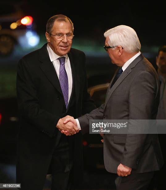 Russian Foreign Minister Sergey Lavrov greets German Foreign Minister FrankWalter Steinmeier upon Lavrov's arrival to meet also with Ukrainian...