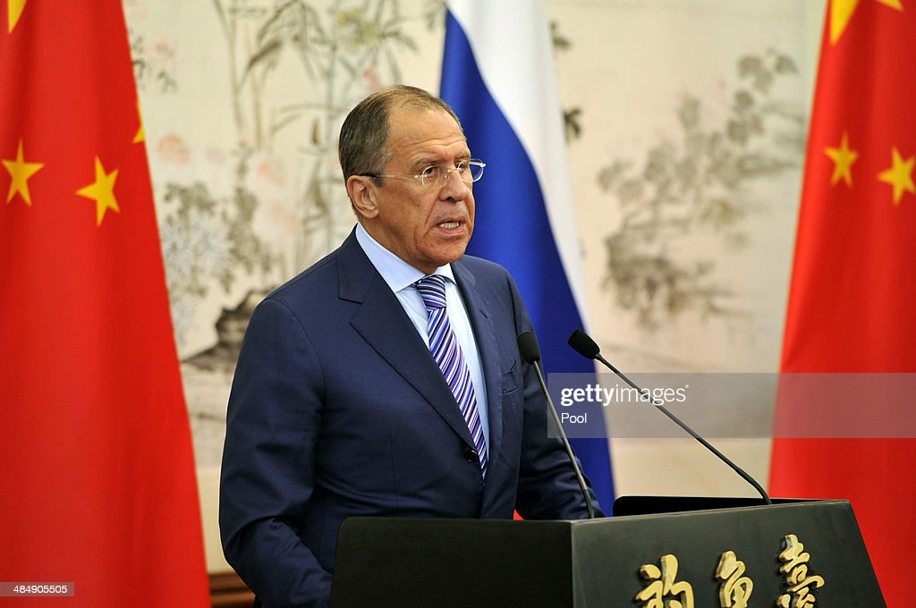 Russian Foreign Minister Sergey Lavrov, left, holds a press conference with Chinese Foreign Minister Wang Yi (not pictured), after their meeting at Diaoyutai Guesthouse on April 15, 2014 in Beijing, China. Lavrov is on a one-day visit to China.