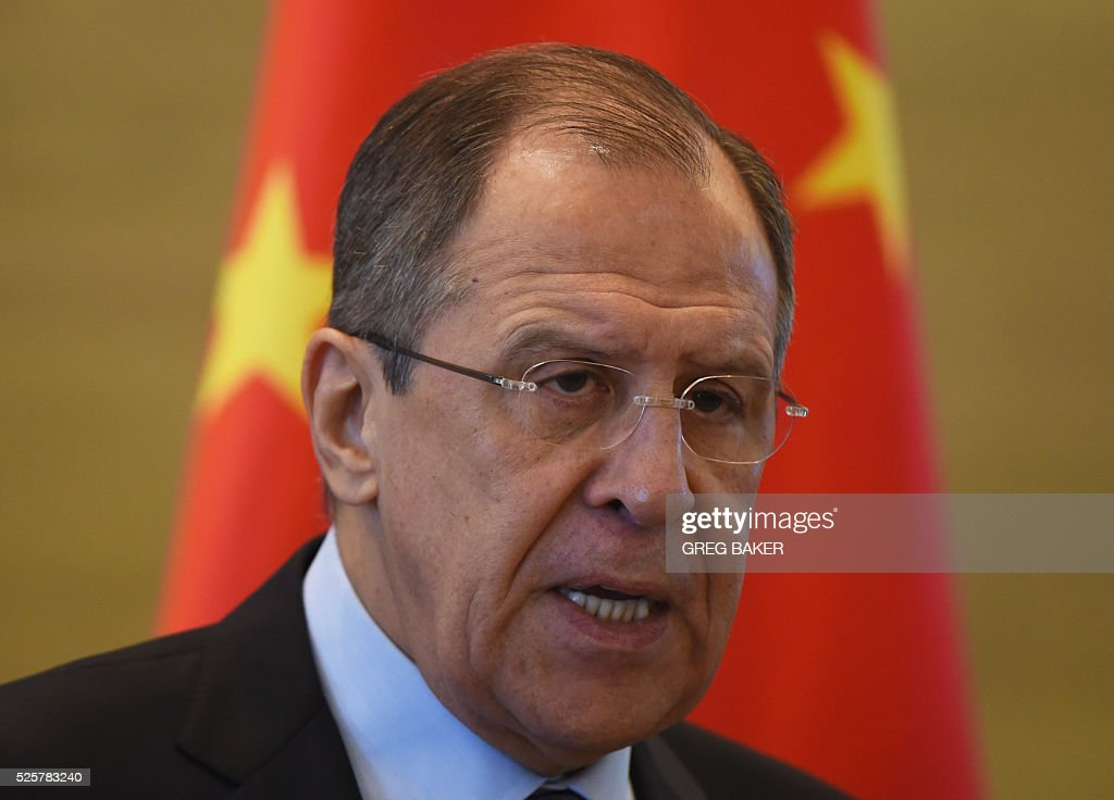 Russian Foreign Minister Sergey Lavrov speaks during a joint press conference with Chinese Foreign Minister Wang Yi at the Ministry of Foreign Affairs in Beijing on April 29, 2016. / AFP / GREG